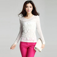 W5040 korean round collar flower pattern new design autumn white puff sleeve blouse