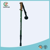 3 sections Cork handle telescopic aluminum 6061 trekking stick/hiking stick/alpenstock