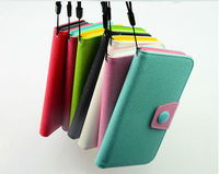 for iphone 6 plus colorful Pu leather flip cover case with hand strap