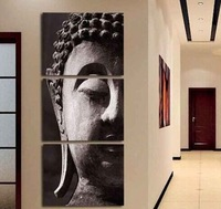 Handpainted buddha oil painting on canvas With Frames Stretched Home Decoration