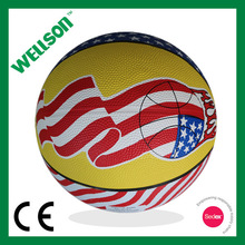 Flag printed natural rubber basketball