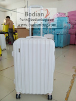 "BODIAN 2014 new design spinner 3pc set 20"" 24"" 28"" professional Polypropylene pp trolley suitcase factory white color"