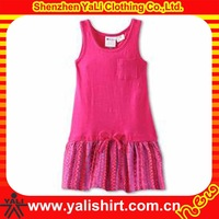 Hot selling oem cheap sleeveless ruffle plain cotton picture of children casual dress