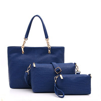 13360 New Fashion 2014 Casual Women leather Bag Pure Color Pattern Three Piece Set Messenger Bag HandBag