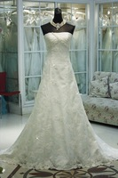 SJ1682 white Fashion strapless floor length A-line 2014 new style lace wedding dress