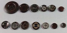 burnt effect wooden button for round pearl buttons