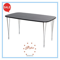 stylish oval shaped dining table with veneer pasting top and chrome leg for buffet set PDT14950 dining room furniture