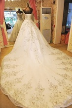 SJ1737 white high quality Fashion sweetheart Crystals beaded organza ball gown long tail silver embroidery wedding dress