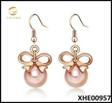 Pink Pearl Jewelry18K Rose Gold Plated Austria Crystal Bowknot Dangle Earrings