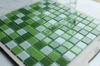 Factory Direct green mix white crystal glass mosaic tiles