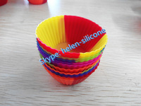 Multi Mixed Color 12 packed silicone baking cups with different vibrant colors on Amazon.com