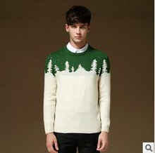 2014 Christmas tree print fashion handsome comfortable handmade knit wool sweater designs