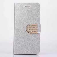 Hot selling luxury bling cover flip leather phone case for iphone 6