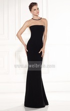 Appliqued beaded simple design back see through chiffon best long black evening dress