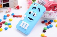 Lovely cute 3D Cartoon M&M Chocolate jelly Bean Silicon Case cover for iphone 4 4s iphone,100pcs/lot
