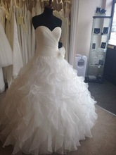 SJ1863 white sweetheart can custom made ankle length high quality organza ruffle ball gown actual wedding dress