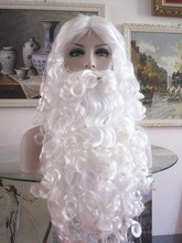 High quality white santa claus costume synthetic mustache wig for performance