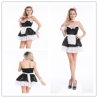China supplier party costume outfit Ladies Womens Sexy French maid waitress fancy dress