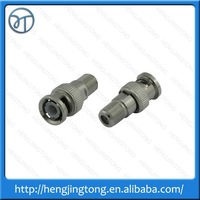 Nickel BNC Male Plug to F Type TV Female Jack RF adapter connector