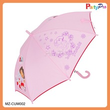 2015 High Quality Cartoon Character Cute Pink Rain Umbrella Straight Umbrella for kids