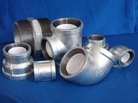malleable cast iron pipe fittings with lining plastic sockets parallel threads with rib,beaded,banded