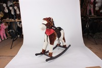 L74*H68*W28cm promotional customized stuffed children plush rocking horse toy with red triangle scarf&top hat