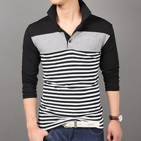 2015 trade assurance China wholesale the latest design 100 % cotton high quality long sleeve stripe men polo shirt