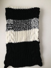 2015 newest strip thick knit scarf in cable pattern
