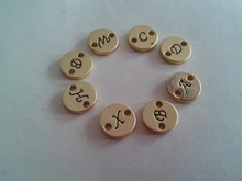 matte gold round initial letter charms connector custom alphabet letter charm tags