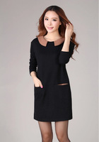 latest winter basic dress designs plus size clothing woman cocktail Doll Collar pocketed short dress tunics for fat