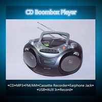 2500pcs stock 3W x 2 Portable CD Boombox with Cassette Recorder