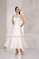 New Style Sleeveless Lace Tea Length Wedding Dress Patterns