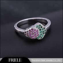 creative design charm 925 silver ring with colorful zircon gemstone
