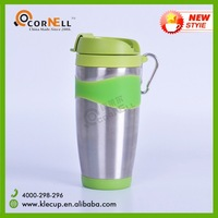 New Design Stainless Steel Travel Mug Coffee Tumbler in Rubber Ring Decor with Plastic Switch Lid & Buckle
