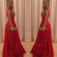 Exquisite maxi woman wedding dress red lace gown alibaba wedding dress A484