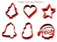 6 different shapes Christmas plastic cookie cutter