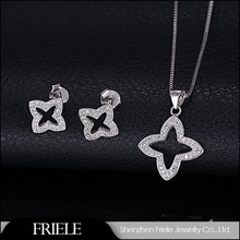 ebay elegant bling bling star 925 sterling silver jewlery set including earrings,pendant