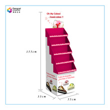 Pop paper cake display 5 layer cardboard display stand for cake