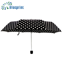 Promotion Gifts Travel Round Dots Print 3 Folding Umbrella For Women