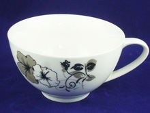 300cc plaint white ceramic coffee cup and saucer