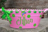 Hot Pink Oval party supplies Metal Tub with Monogram