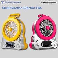 distributing multi-function usb fan with led clock table fan for fishing