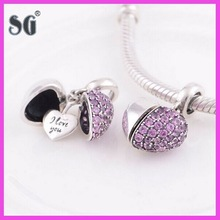 Sample free latest style 925 original silver heart charm pink crystal lovely beads