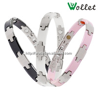 wollet fashion jewelry wholesale fashion charming bangle bracelet made of stainless steel and ceramic with health magnetic