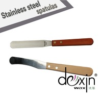 Dexin Wax cosmetic stainless steel spatulas with wooden handle