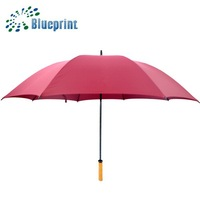 Red Gift Straight Golfing Umbrella Wooden Material Windproof Canopy