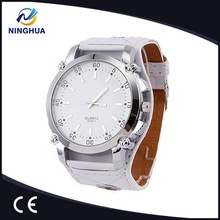 Classic Round Dial Fashion Cool 4Colors Leather Band Women/Men Large Wrist Watch