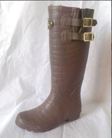 Alligator Pattern Rubber over the knee boots