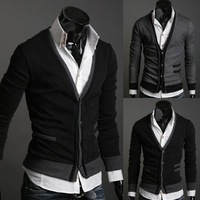 14674 Top Sale 2014 Autumn Winter Fashion Man Long Sleeve V-Neck Single Row Buttons Knitted Cardigan Sweater
