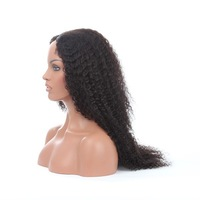 Brazilian Human Hair Afro Kinky Curly Glueless Full Lace Wigs